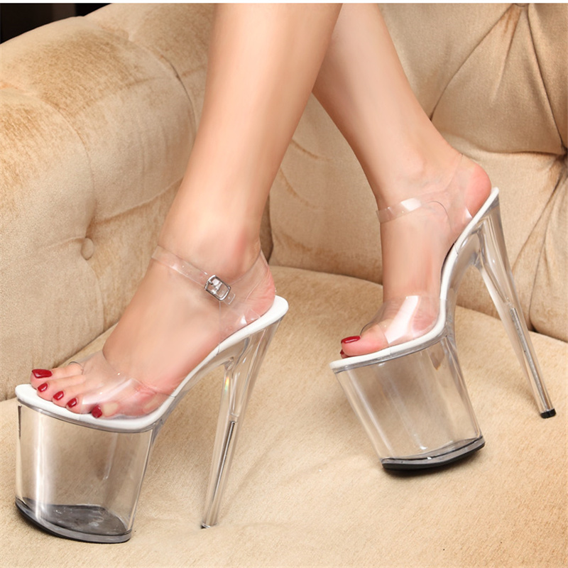 Plus Big Size Qitong PU Woman 20cm High Heels Platform Sandals Nightclub Woman High Heeled  Birthday Party Shoes for T Station  euro size 34 44 pu woman 15 and 17cm high heels platform sandals nightclub woman high heeled birthday party shoes for t station