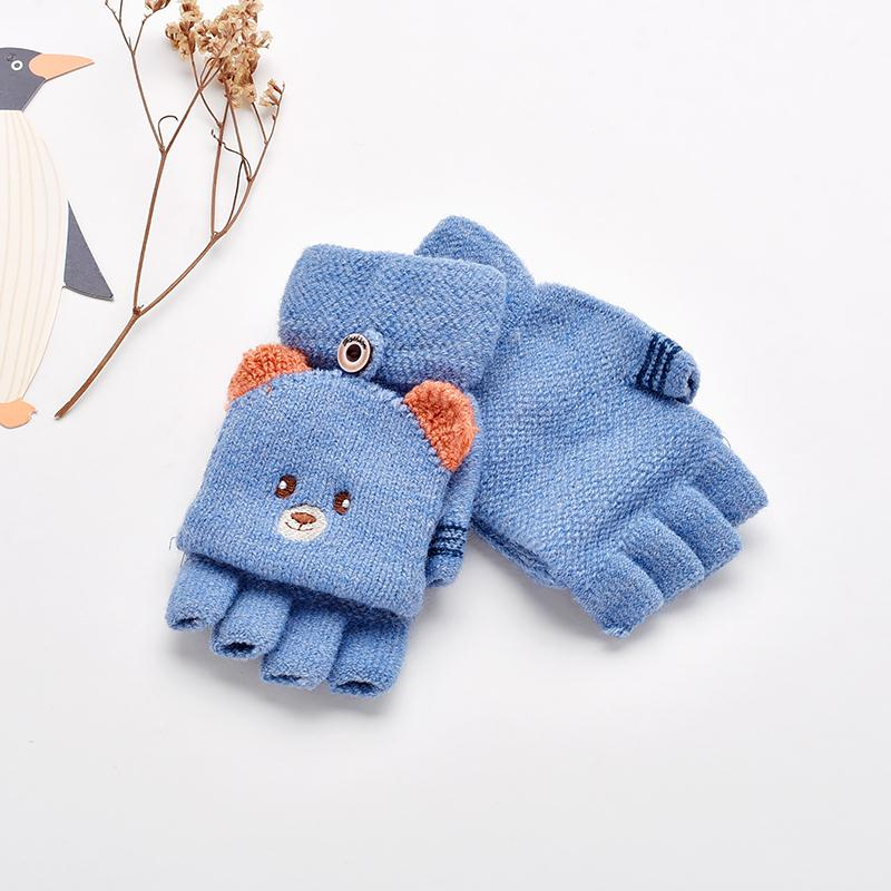 Winter Cartoon Gloves For Children Kids Knitted Warm With  Anti-lost Rope H