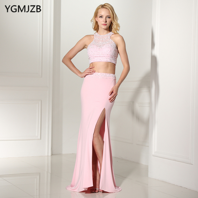 9306f986d0c Two Piece Prom Dresses 2018 Mermaid Halter Side Split Beaded Crystals  Evening Dress Open Back Prom Evening Gown Robe De Soiree