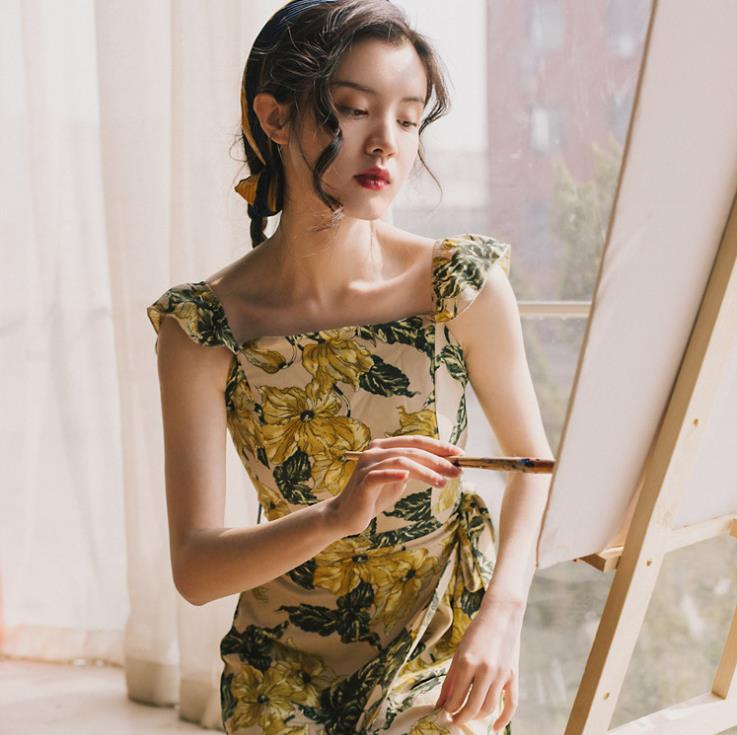 2019 épaule dénudée Spaghetti sangle longue robe imprimé Floral Slim Maxi robe d'été femmes dames robes