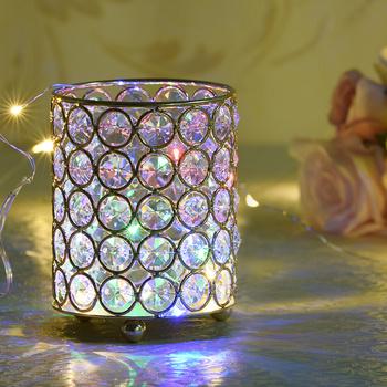 Cylinder świecznik szklany świeczniki metalowy kubek kryształowy stojak wazon do dekoracji ślubnych domu Centerpieces tanie i dobre opinie VINCIGANT Home Decoration candle holders Dopasowanie kubek świeca Małe tealight Nowoczesne none matching block candle