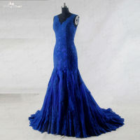 RSW942 Sleeveless V Neckline Lace Royal Blue Wedding Gowns Mermaid