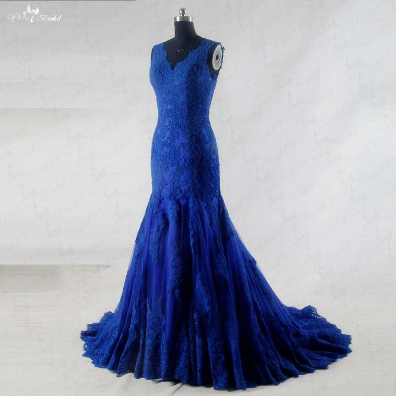 RSW942 Sleeveless V Neckline Lace Royal Blue Wedding Gowns