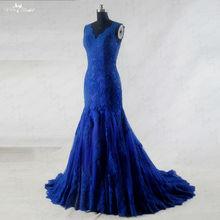 RSW942 أكمام v العنق الرباط الملكي الأزرق فساتين الزفاف حورية البحر