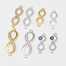 Digital 8 Silver/Gold Infinity Symbol Metal Charm Connector Accessories Bracelet Necklace Jewelry DIY Production(China)
