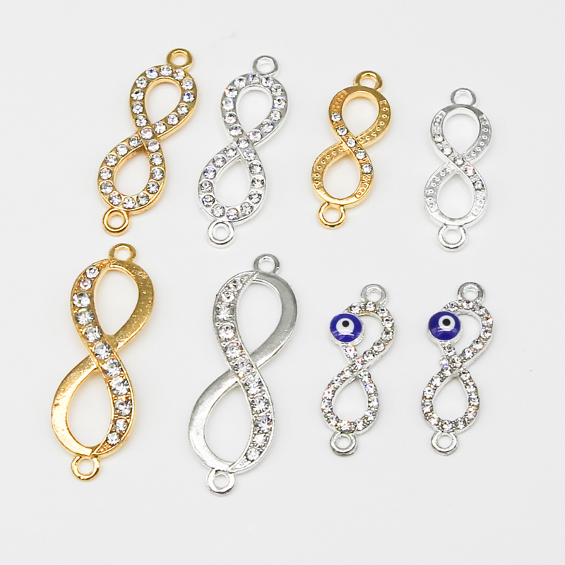 Digital 8 Silver/Gold Infinity Symbol Metal Charm Connector Accessories Bracelet Necklace Jewelry DIY Production