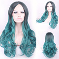 68cm Fashion Sexy Long Curly Wavy Cosplay Central Parting Women Wigs Hair Wig Girl Gift Black Green Ombre