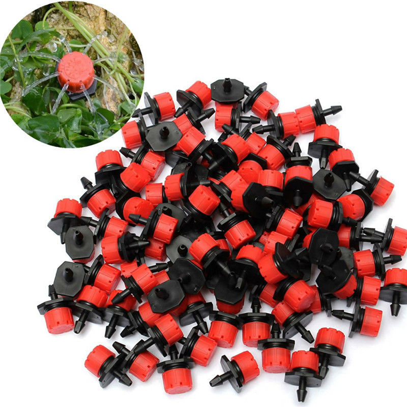100pcs Micro Flow Dripper Drip Head 1/4 Inch Adjustable Hose Garden Irrigation Misting Water Dropper