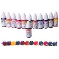 Kek Dekorasyon Için 12 Renkler 10 ml Doğal Mürekkep Renkli Geçici dövme Için Airbrush Aksesuarları toksik Olmayan DIY Kozmetik
