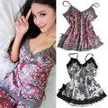 Calças das mulheres Sexy Floral Lace Lingerie Roupa de Dormir Pijamas Sleepwear Conjunto