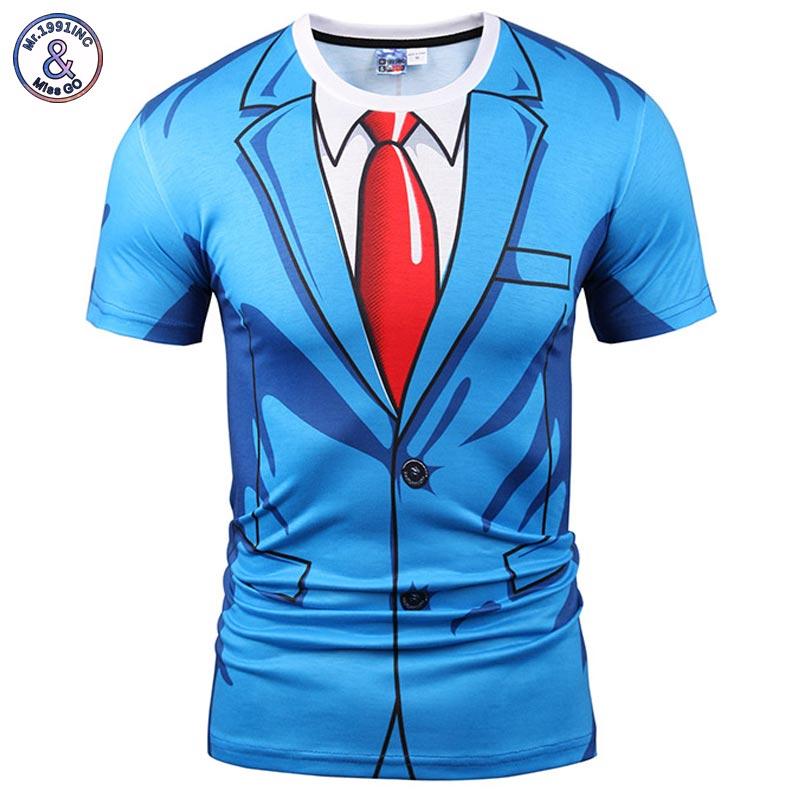Mr.1991INC Brand   T  -  shirt   Men/Women Fashion 3d Tshirt Print Blue Suit Jacket Summer Tops Tees Fake Two Pieces   T     shirt