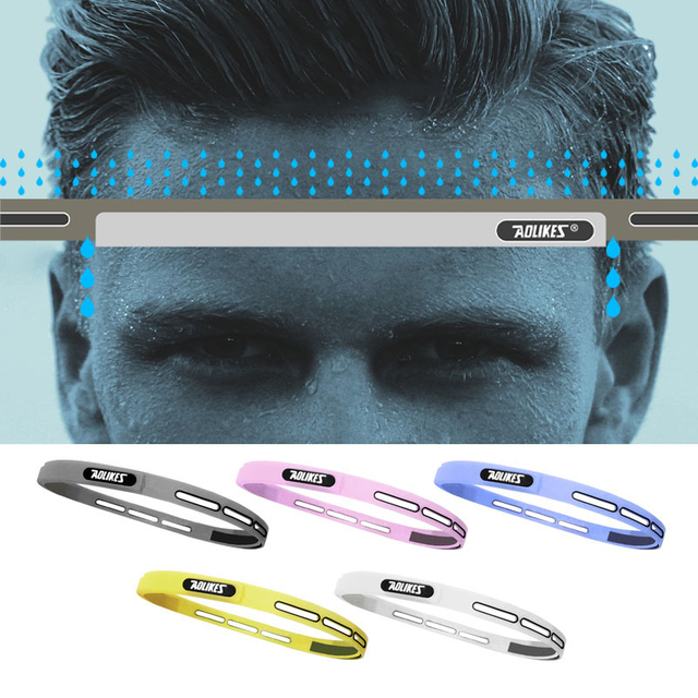 Outdoor Sports Fitness Yoga Running Headband Adjustable Silicone Headwear Hairband Forehead Belt Sweat Absorb Proof Men Women 1