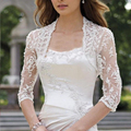 Customized Top Ivory Appliques Lace With Tulle Three Quarter Bolero/Jacket For Women Lady Gown Clothes