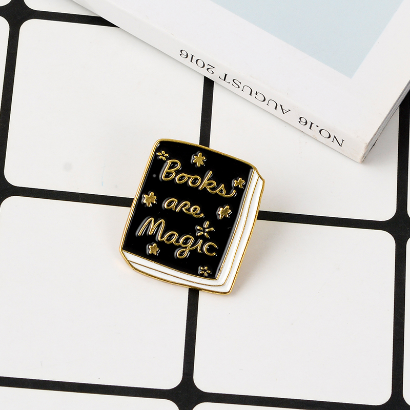 Magic Book Enamel Pin Brooches Fashion Quote Black Books Metal Brooch Soft Enamel Pins Badge Gift For Student Reader Children