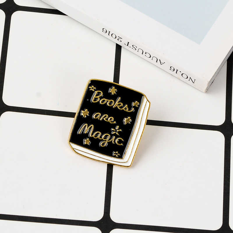 53173d59a0ee Magic Book Enamel Pin Brooches Fashion Quote Black Books Metal Brooch Soft  Enamel Pins Badge Gift for Student Reader Children