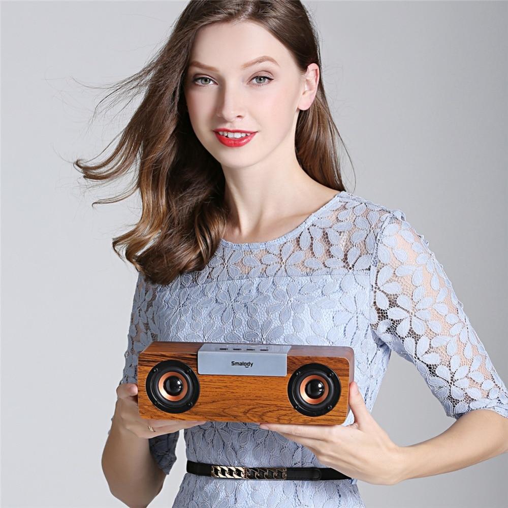 Wireless Bluetooth V5.0 TWS Wooden Speaker Stereo Portable Outdoor Sound Box Subwoofer Computer PC Soundbar TF FM Radio
