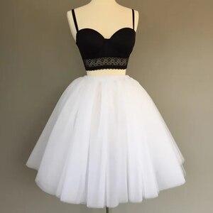 Image 2 - 7Layered 50cm Tutu Tulle Skirts Womens High Waist Swing Dolly Ball Gown Underskirt Mesh Summer Midi Skirt Faldas Saias Jupe