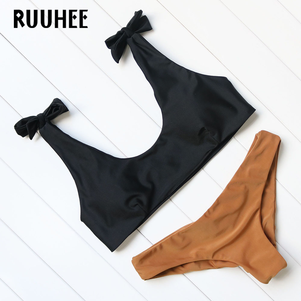 RUUHEE Bikinis Women Summer Beach Bathing Suit Push Up Brazilian Bikini Set Sexy Woman Swimwear Solid Swimsuit Brand Beachwear 2017 summer women swimwear bandage bikini set push up padded bra swimsuit bathing suit sexy women beachwear beach outwear bather