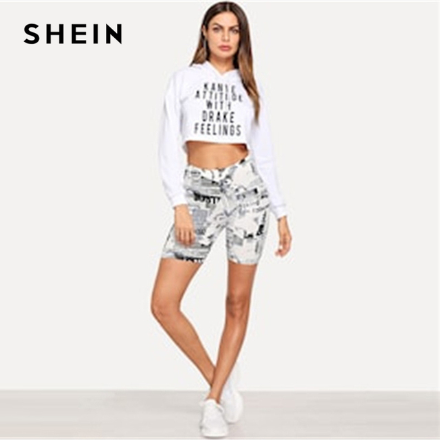 SHEIN Modern Lady Black and White Allover Letter Print Cycling Crop Short Leggings 2018 Summer Modern Lady Women Pants Trousers 3