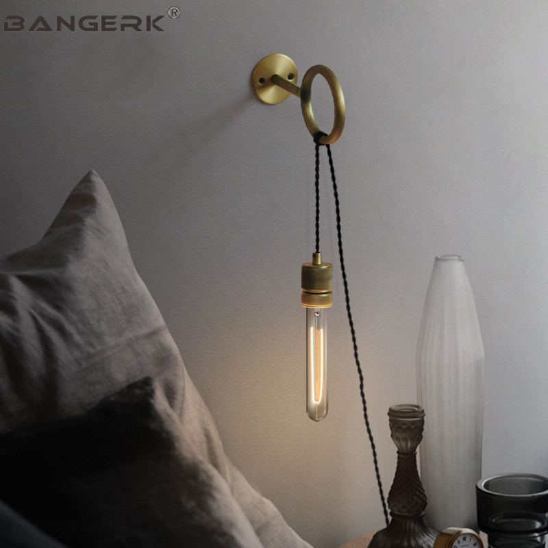 DIY Loft Vintage Wall Lamp Sconce Edison Industrial Iron Pull Ring Switch Plug Bedside Wall Lights For Home Decor Lighting