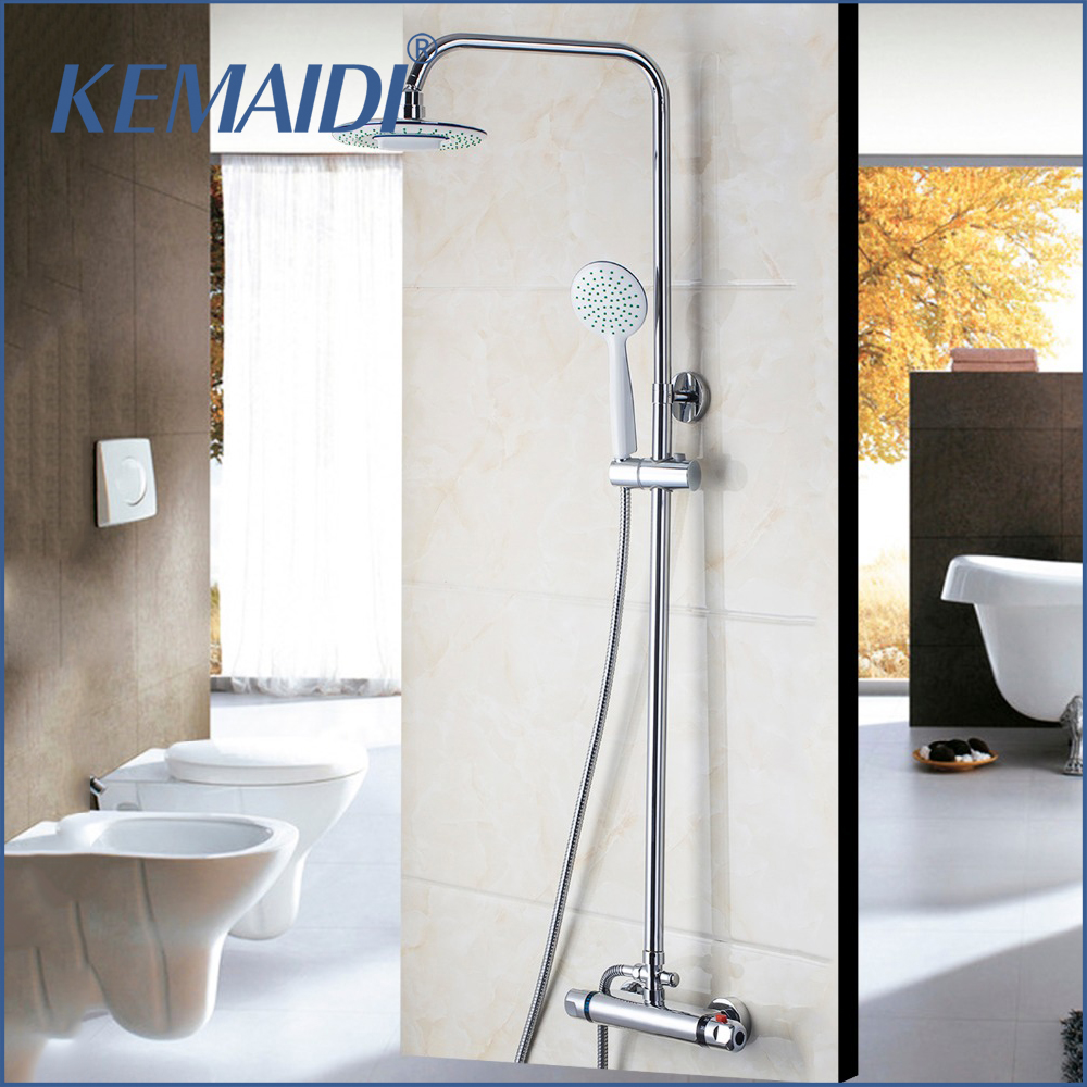 KEMAIDI Thermostatic Shower Set Shower Head&Handle  Bathroom Faucets Bath Thermostatic Faucet Chrome Finished Thermostatic Mixer xkai 14pcs 6 19mm ratchet spanner combination wrench a set of keys ratchet skate tool ratchet handle chrome vanadium