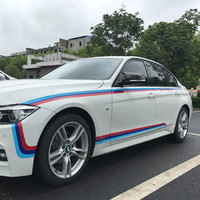 M Colored M Performance Stripe Sticker Sport Tricolor Hood Waist Line Decal for BMW 320i 328i 525i 520i 720i GT 3 5 7 Series