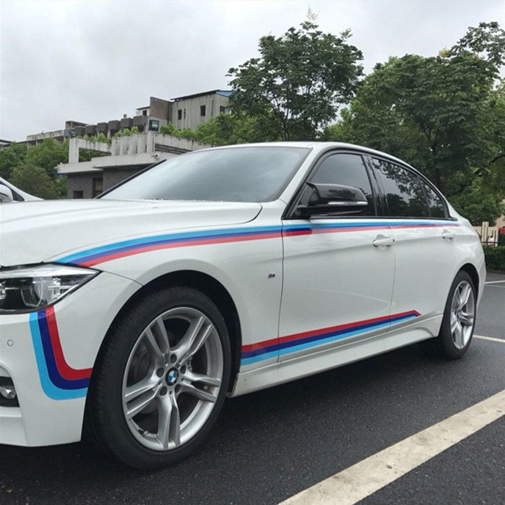 M-Couleur M Performance Bande Autocollant Sport Tricolore Capot Taille Ligne Decal pour BMW 320i 328i 520i 525i 720i GT 3 5 7 série
