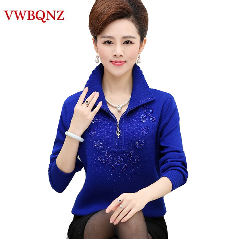 Middle-aged Women Wool Sweater Coat Plus Size 4XL Autumn Winter Loose Stretch Soft Zipper Female Sweater Casual Pullover Tops