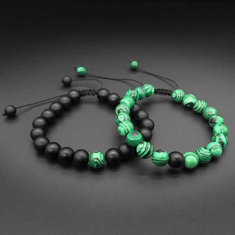 1-2 pieces/Set 8mm Natural Malachite stone Beads men bracelets Weave charm Couple Bracelet for men&women Jewellery grace