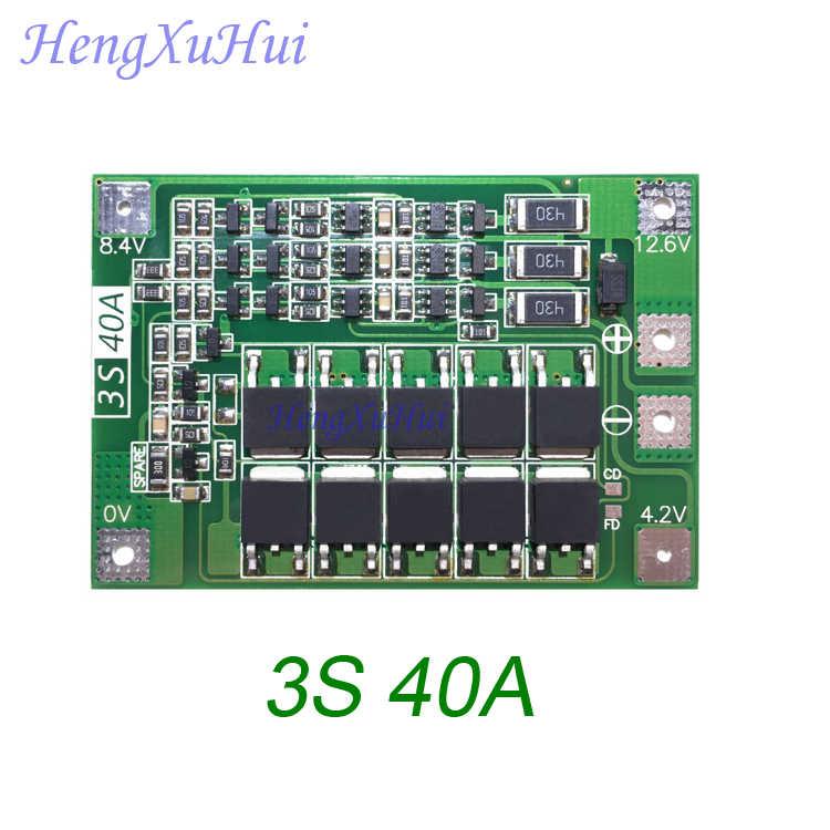 3 S 40A BMS 18650 Lipo зарядное устройство Защитная плата BMS ось вращения двигателя 11,1 V 12,6 V (баланс выравнивается зарядки опционально)