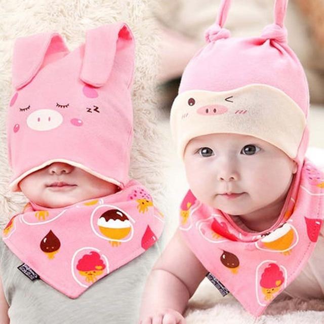 Cotton Baby Hat Set Ice Cream Love Print Cotton Cap Baby Hats Newborn Sleep Hat  Children 1ff37dc3c0bf