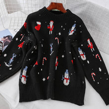 39cd6233b12a5 Noël Nouvel An Usure Imprimé Tricoté Pull Femmes Automne Hiver O Cou Tricot  Pull Femme décontracté hauts pullover Pulls Dames
