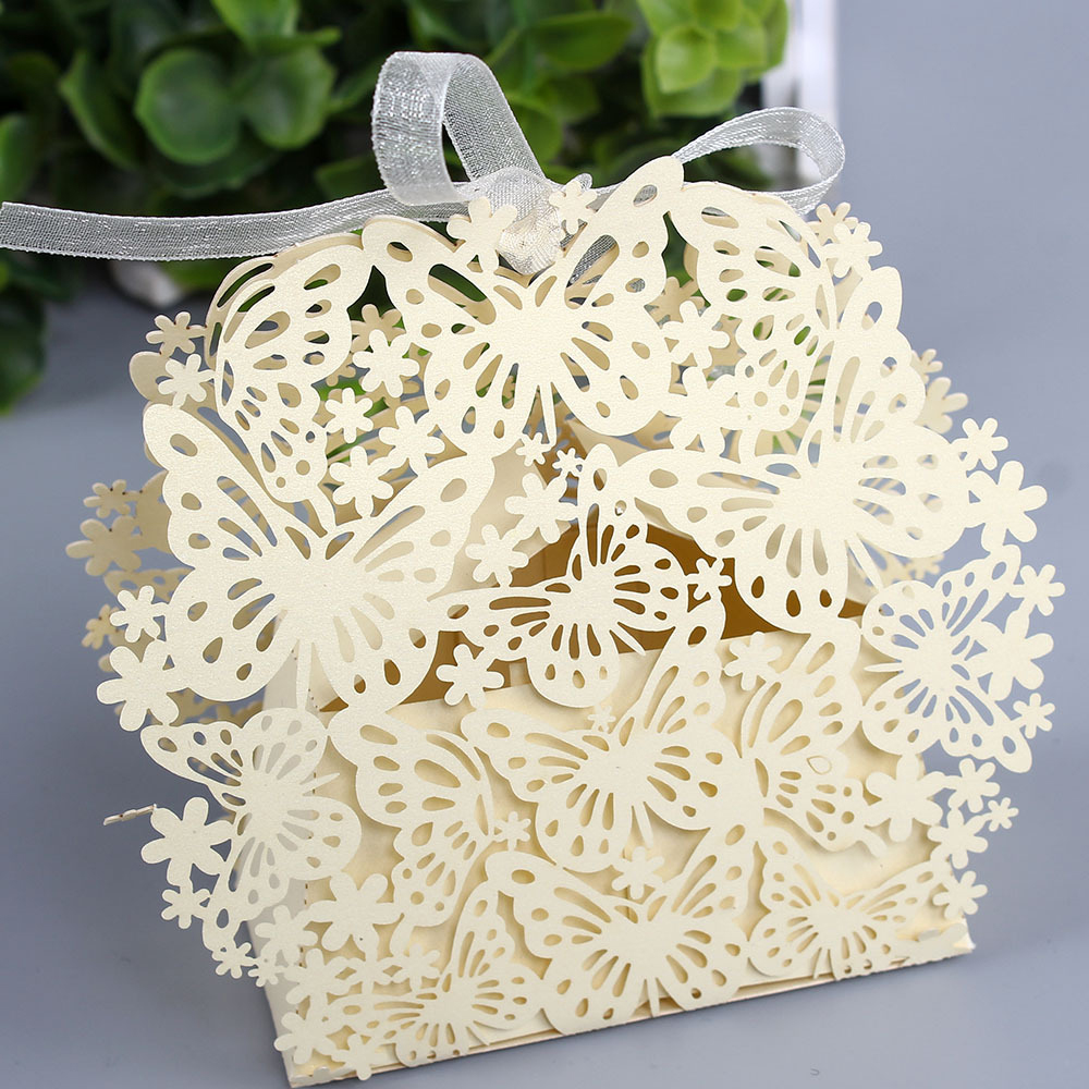 50 X Wedding Candy Box Gold Red White Blue Laser Cut Favor