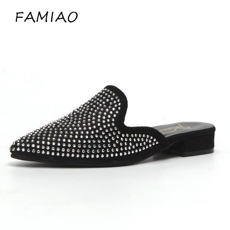 FAMIAO Кристалл острый носок Для женщин Corduro кожи горный хрусталь Тапочки плоская подошва летние шлепанцы Вьетнамки, острый носок Размер 35-39