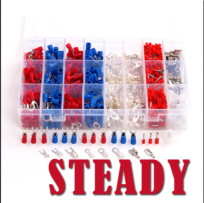 1000Pcs Electrical Cable Wire Insulated Crimp Terminals Kit Cord Pin End Connectors Insulated Spade Fork Ring Assorted Set 1000pcs non insulated ring terminals rnbl 1 25 4