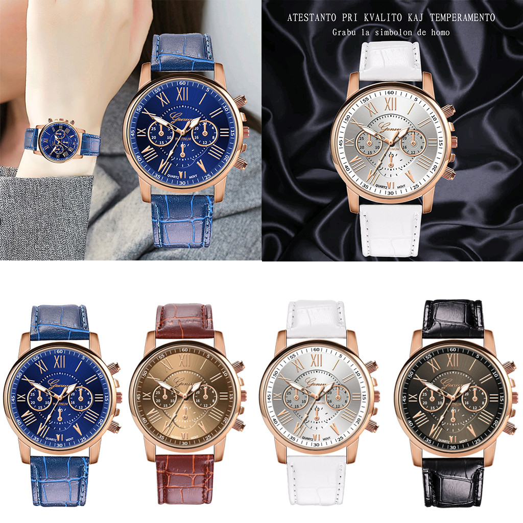 Hot Sale Student Simple Small Strap Watches Clock Fashion New Women Casual Checkers Faux Leather BandQuartz Analog Wrist Watch