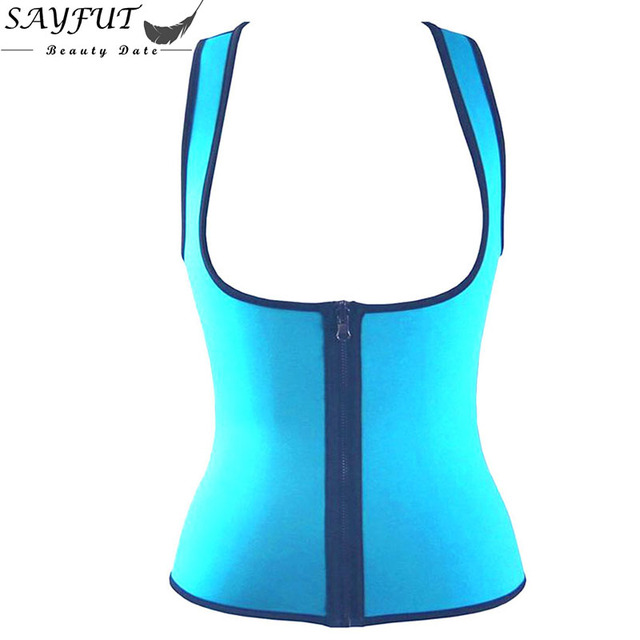 Sexy Women Sweating Exercise Zipper Waist Trainer Corsets And Bustiers Neoprene Vest Underbust Corset Body Shaper Corselet