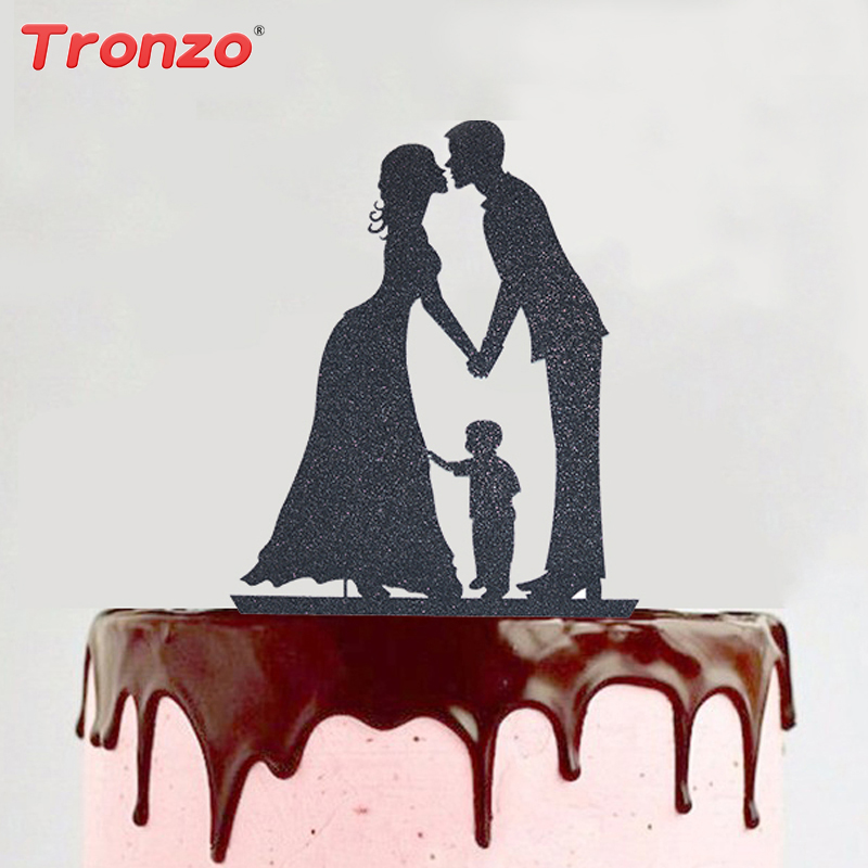 tronzo new glitter paper wedding cake topper romantic black brilliant family decor wedding decoration cupcake toppers