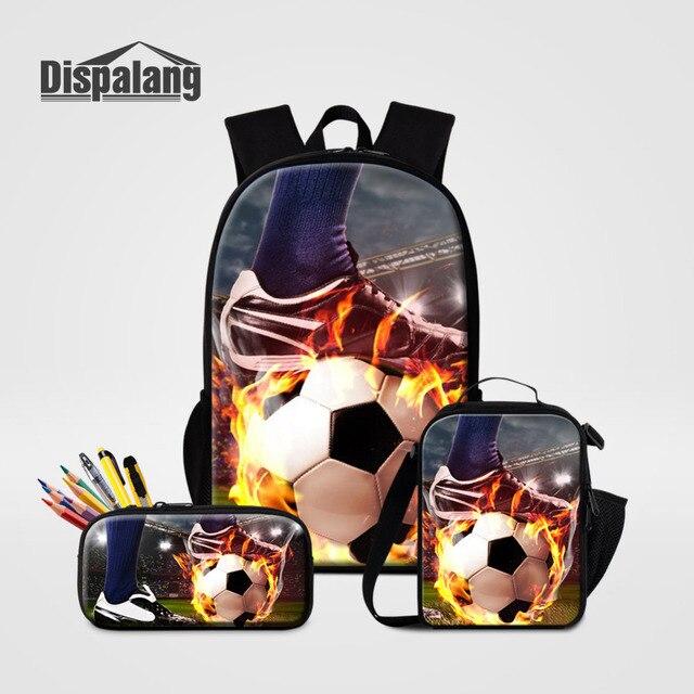 Dispalang 3Pcs set School Backpacks Soccer Print Schoolbag for Teenager  Cooler Bag Kids Pencil Bag Rucksack Moclila Shoulder Bag 0fc244c13240f