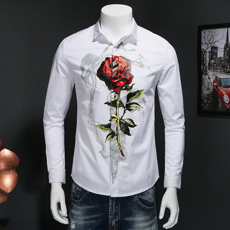 2017 spring Men s leisure fashion business long sleeve shirts Men s Flower color long