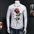 2017 primavera hombres de negocios de moda de ocio camisas de manga larga de Los Hombres de color De La Flor camisa de manga larga Tamaño M-5XL Envío gratis