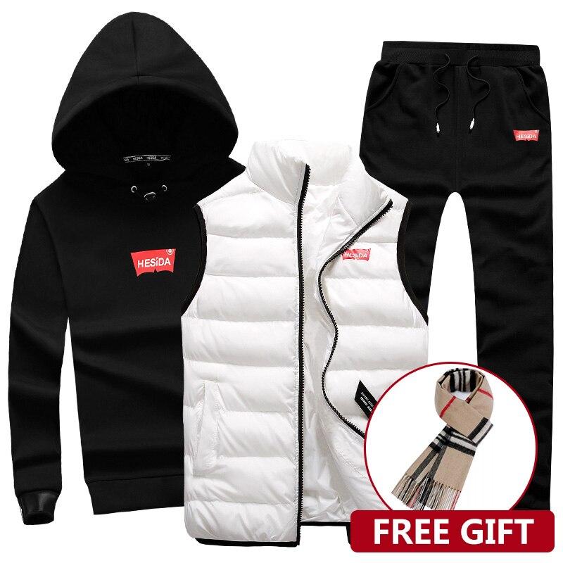 3 в 1 толстовка с капюшоном для мужчин брюки для девочек жилет 3 шт. теплый флис брендовая Толстовка для мужчин комплект пальто Jogger спортивны