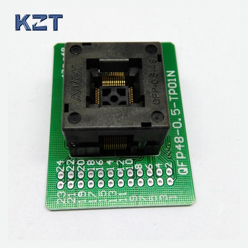 QFP48 TQFP48 LQFP48 Open top Programming socket Pitch 0.5mm FPQ-48-0.5-06 Test Socket Flash Adapter Size 7*7mm 10pcs dm9000cep lqfp48 new