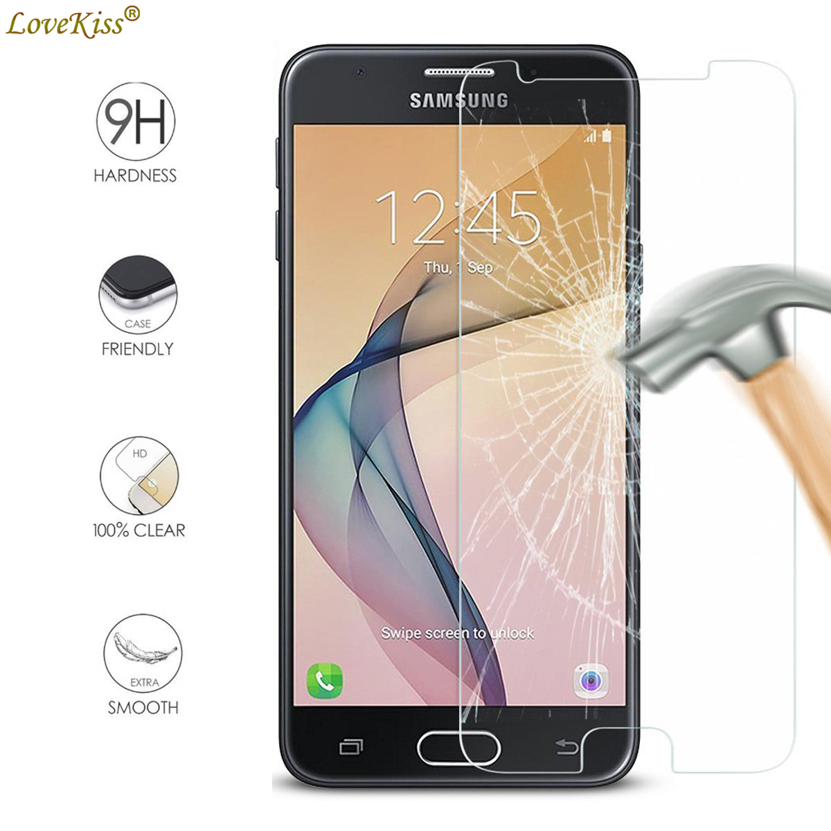 For <font><b>Samsung</b></font> Galaxy J5 Prime G570 G570Y On5 2016 SM-G570F J5Prime Screen Protector Film 9H Tempered <font><b>Glass</b></font> Protective Case Cover image