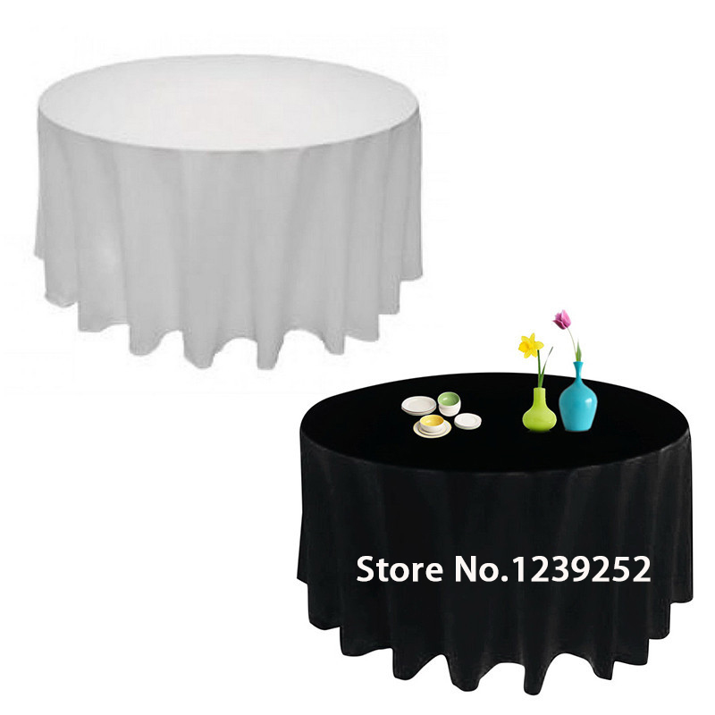 HOT 90 INCH WHITE/BLACK ROUND TABLE SATIN CLOTH BANQUET WEDDING RESTAURANT  TABLECLOTH(China