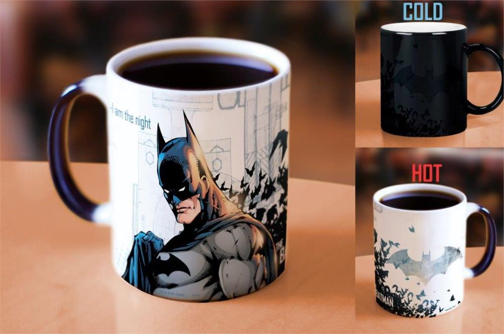 Drop shipping batman mugs the dark night coffee mug light magic mugs heat changing color porcelain coffee cups best gift