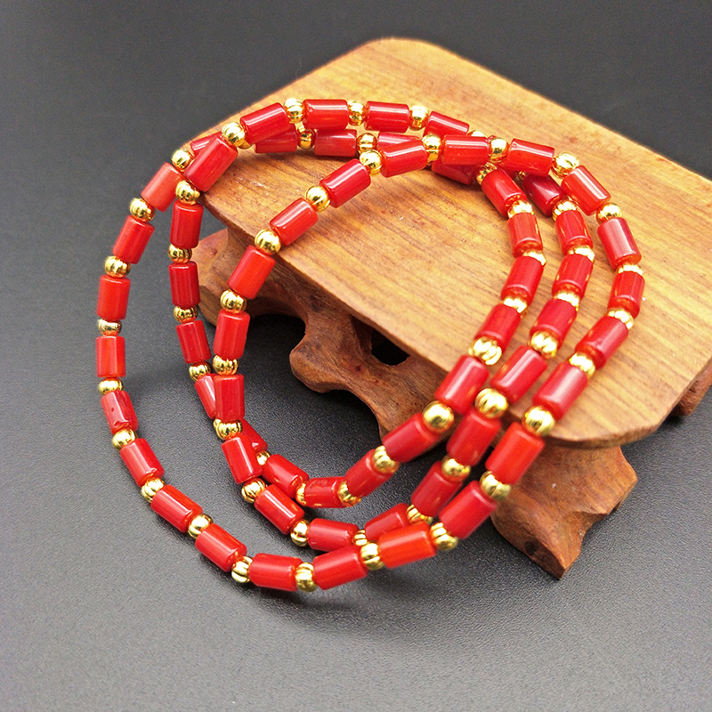 Shuangsheng Natural Red Coral Bracelet Red and Orange Coral Beads Beaded Multi-Layer Bohemian Jewelry Bracelet for Women