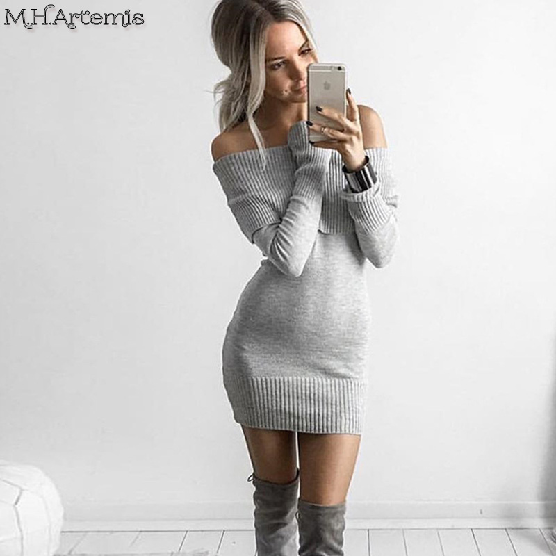 Mhartemis Autumn Off Shoulder Winter Sweater Dress Knitted Lapel