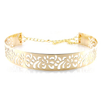Fashion New 2017 Gold Metal Belts For Women Hollow Flower Sash Decoration With Chain 4cm Wide