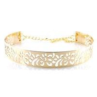 Fashion nieuwe 2017 Gold metal Riemen Voor Vrouwen Hollow bloem sash Decoratie met ketting 4 cm breed Cumberbanden Gratis Verzending